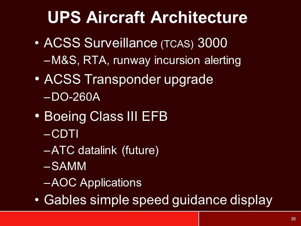 UPS Aircraft Architecture