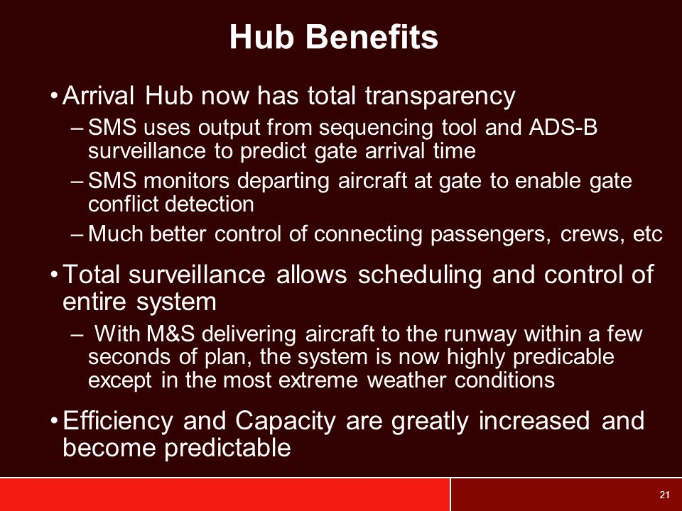 Hub Benefits Arrival Hub now has total transparency
