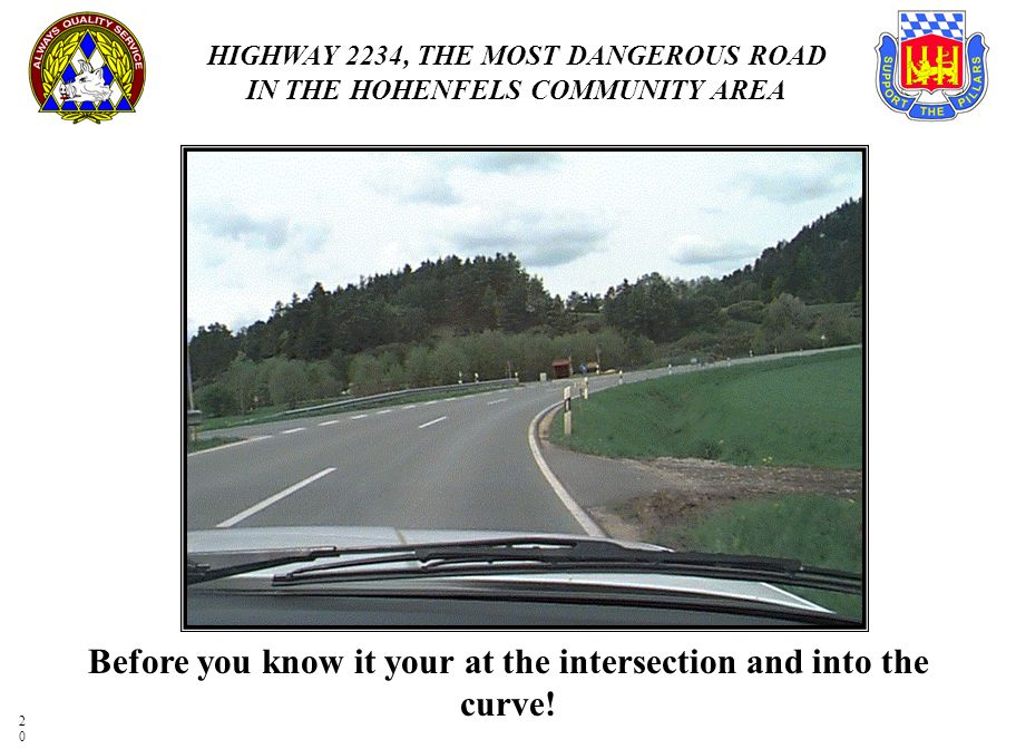 Before you know it your at the intersection and into the curve!