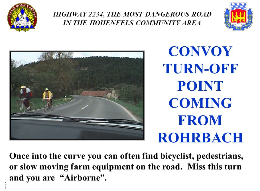 CONVOY TURN-OFF POINT COMING FROM ROHRBACH