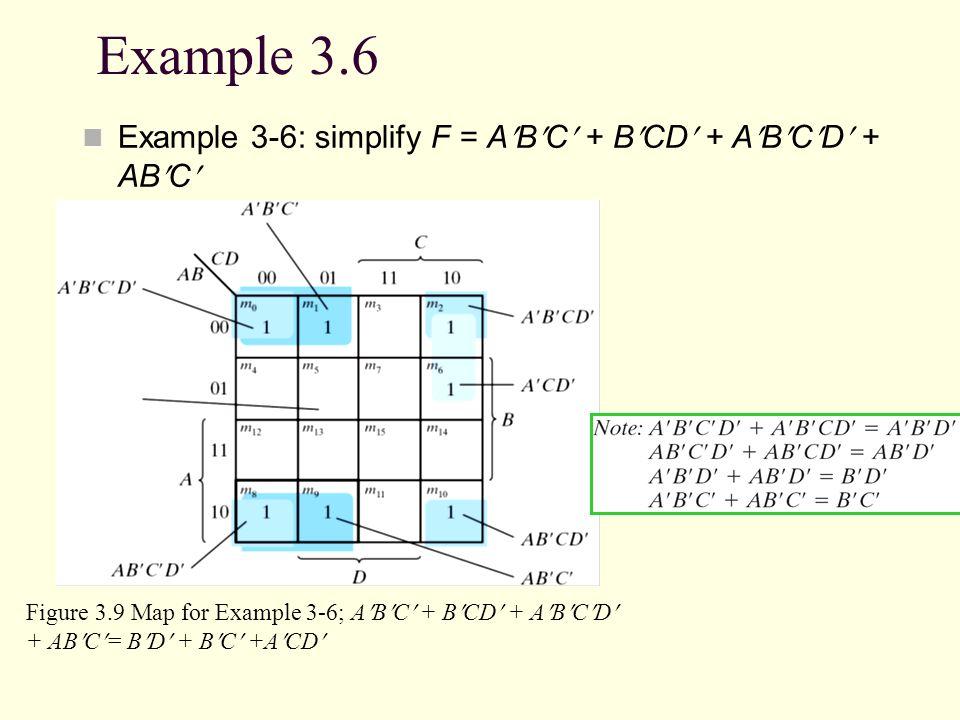 Example 3.6 Example 3-6: simplify F = ABC + BCD + ABCD + ABC