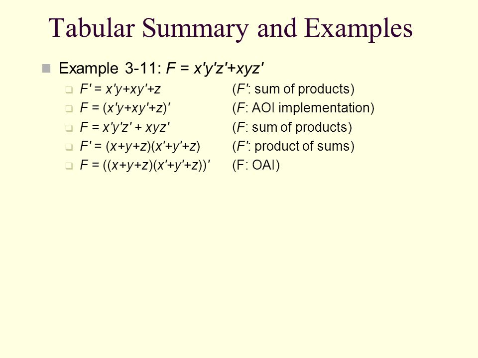 Tabular Summary and Examples
