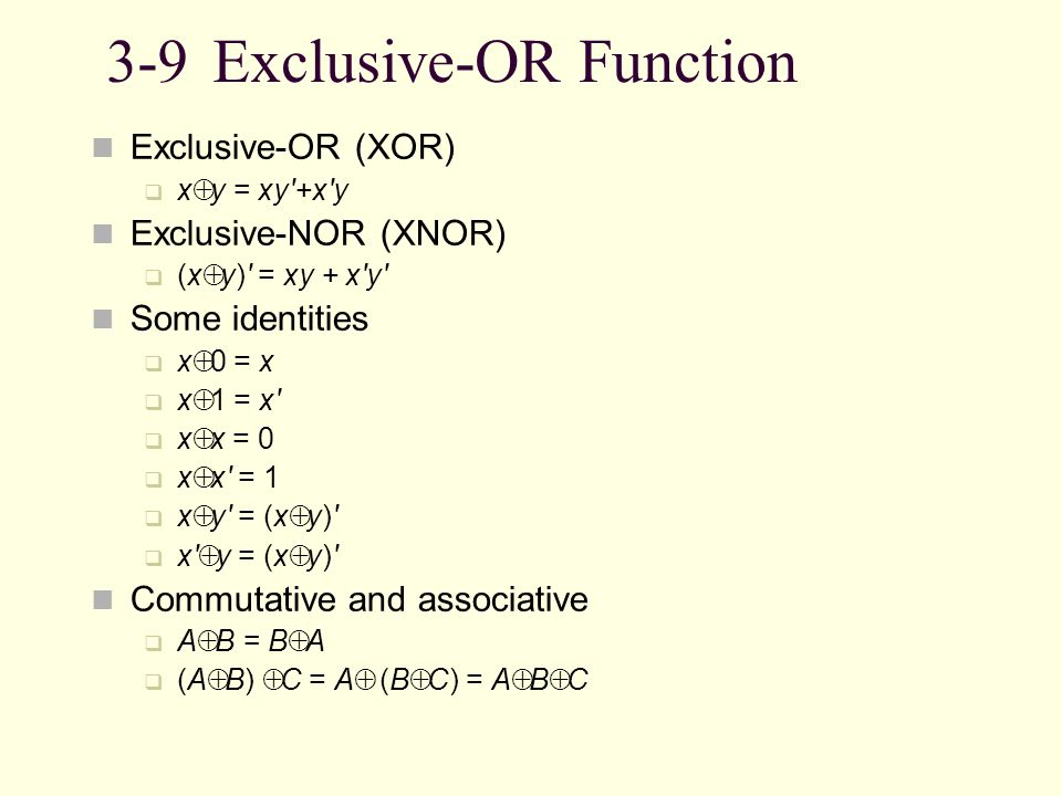 3-9 Exclusive-OR Function
