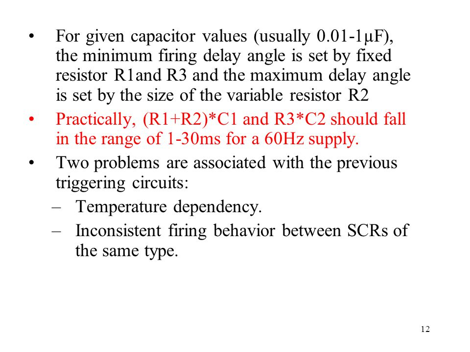 For given capacitor values (usually 0