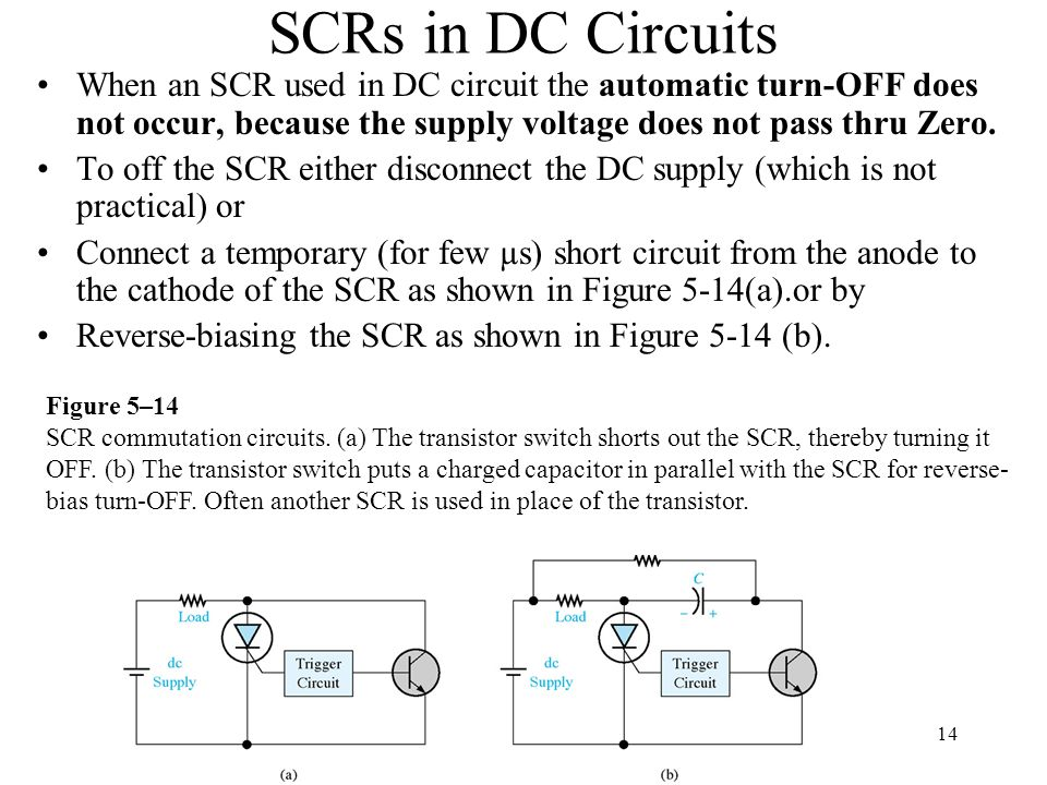 SCRs in DC Circuits When an SCR used in DC circuit the automatic turn-OFF does not occur, because the supply voltage does not pass thru Zero.