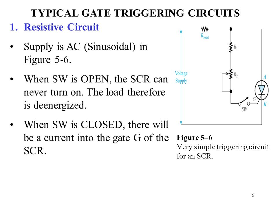 Figure 5–6 Very simple triggering circuit for an SCR.