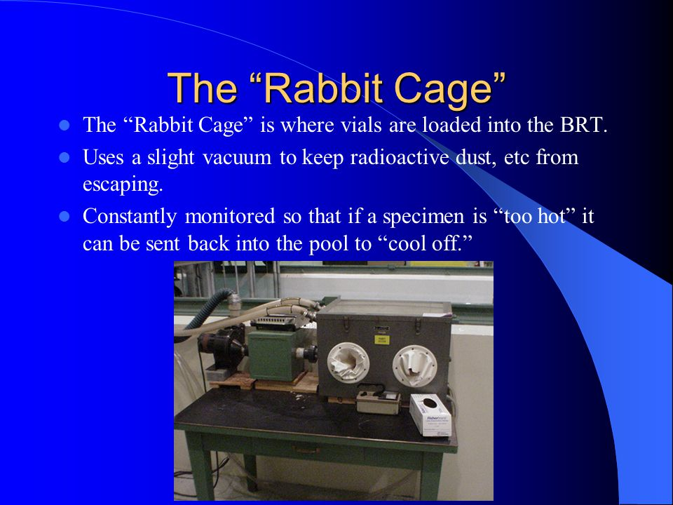 The Rabbit Cage The Rabbit Cage is where vials are loaded into the BRT. Uses a slight vacuum to keep radioactive dust, etc from escaping.