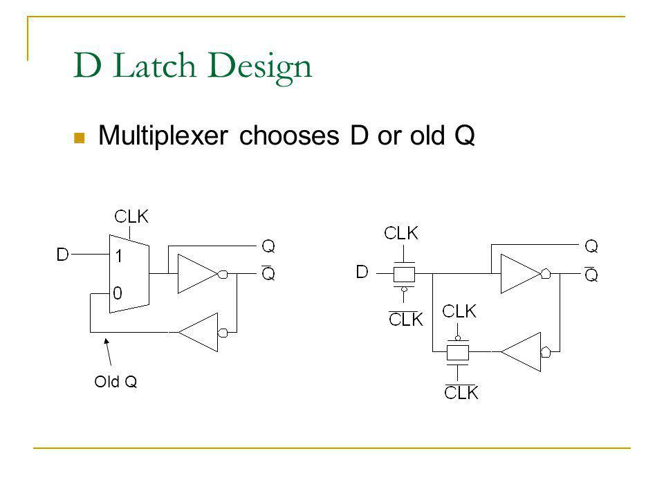D Latch Design Multiplexer chooses D or old Q Old Q