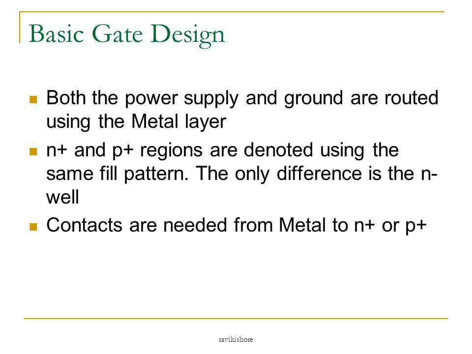 Basic Gate Design Both the power supply and ground are routed using the Metal layer.