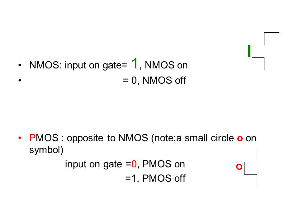 NMOS: input on gate= 1, NMOS on