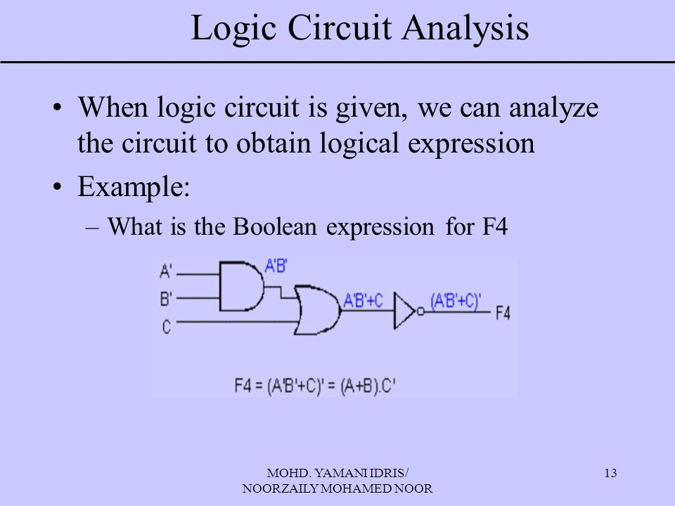 Logic Circuit Analysis
