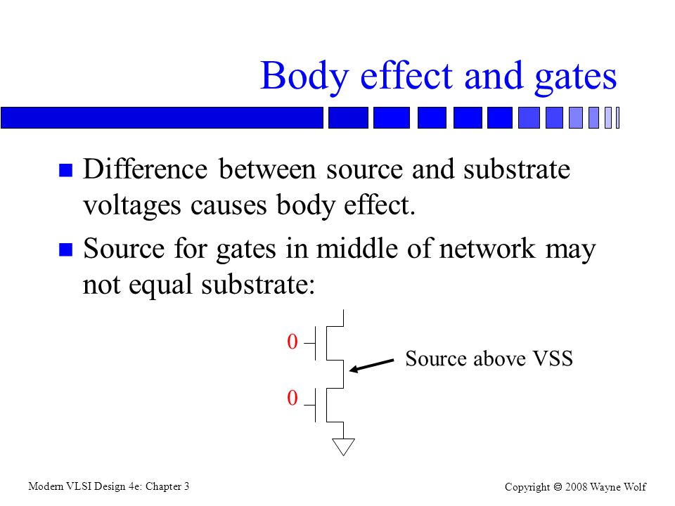 Body effect and gates Difference between source and substrate voltages causes body effect.