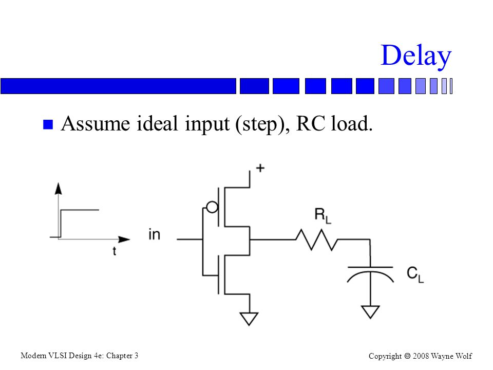 Delay Assume ideal input (step), RC load.