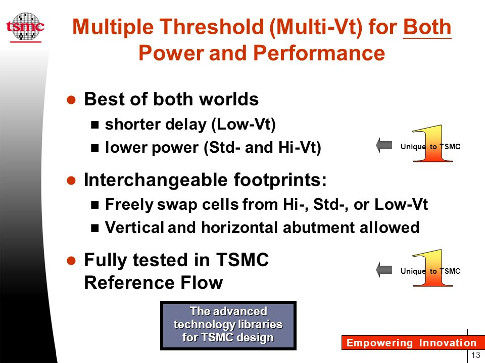 Multiple Threshold (Multi-Vt) for Both Power and Performance