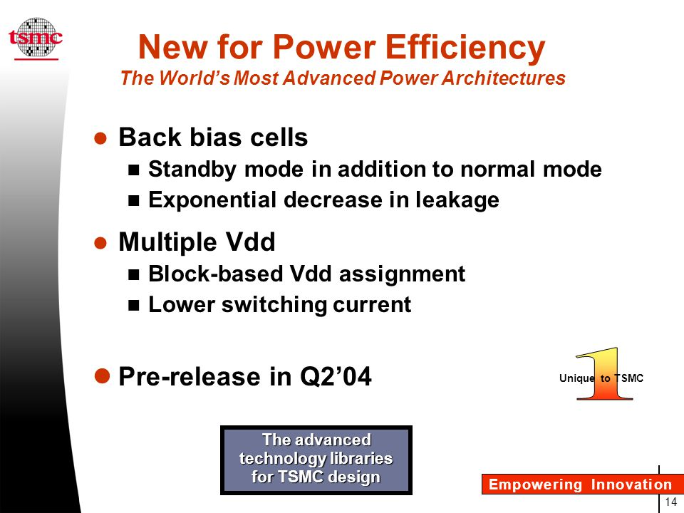 New for Power Efficiency The World's Most Advanced Power Architectures