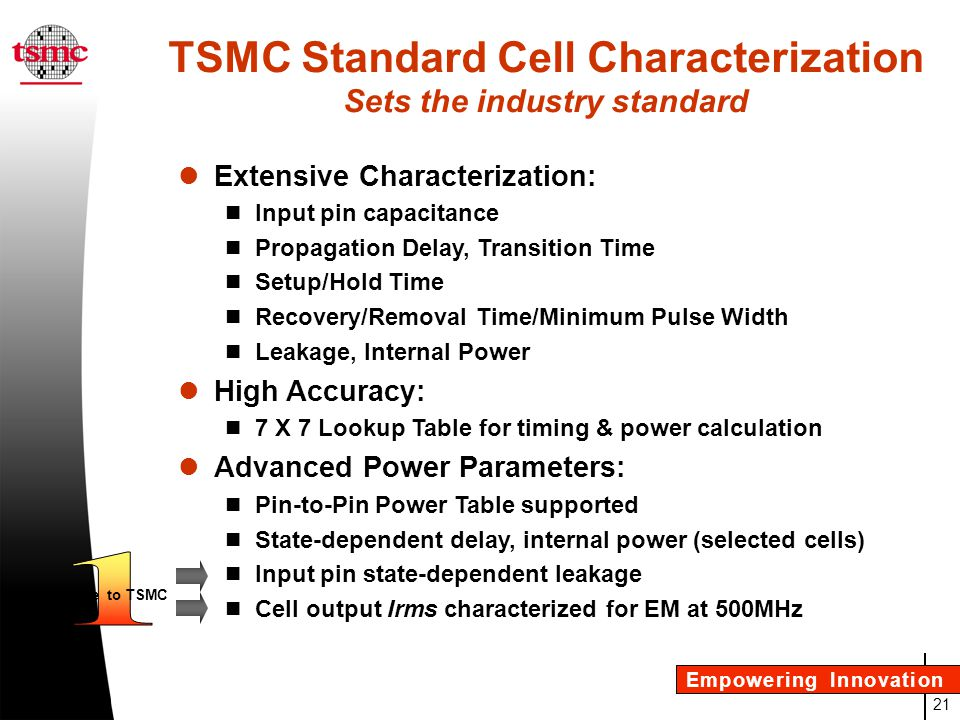 TSMC Standard Cell Characterization Sets the industry standard