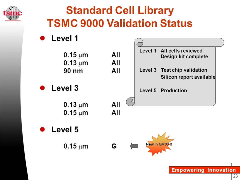 TSMC 9000 Validation Status