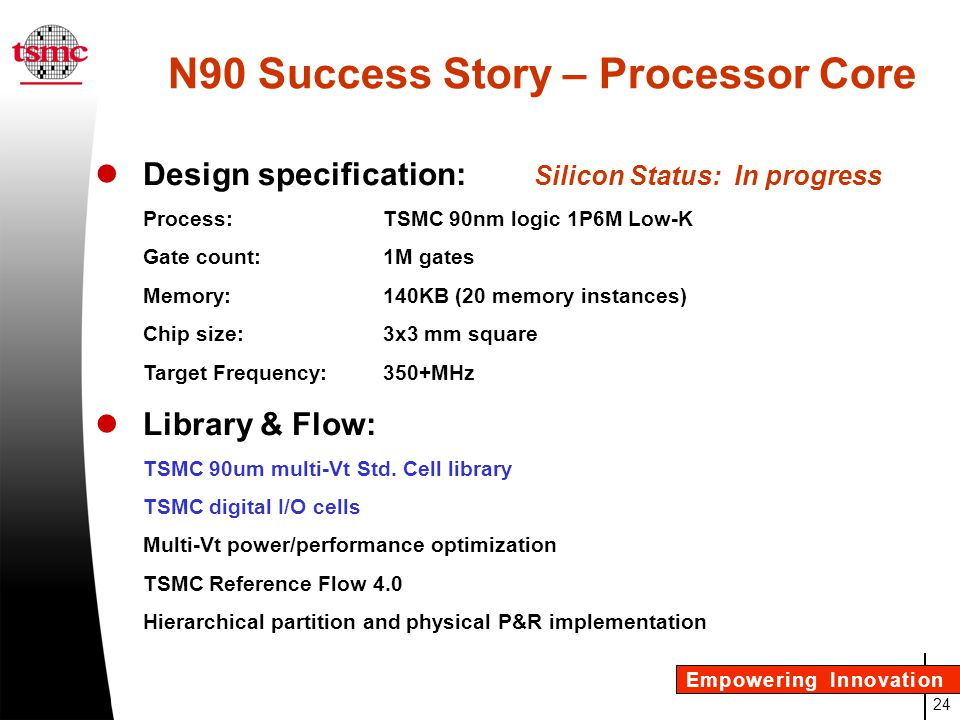 N90 Success Story – Processor Core