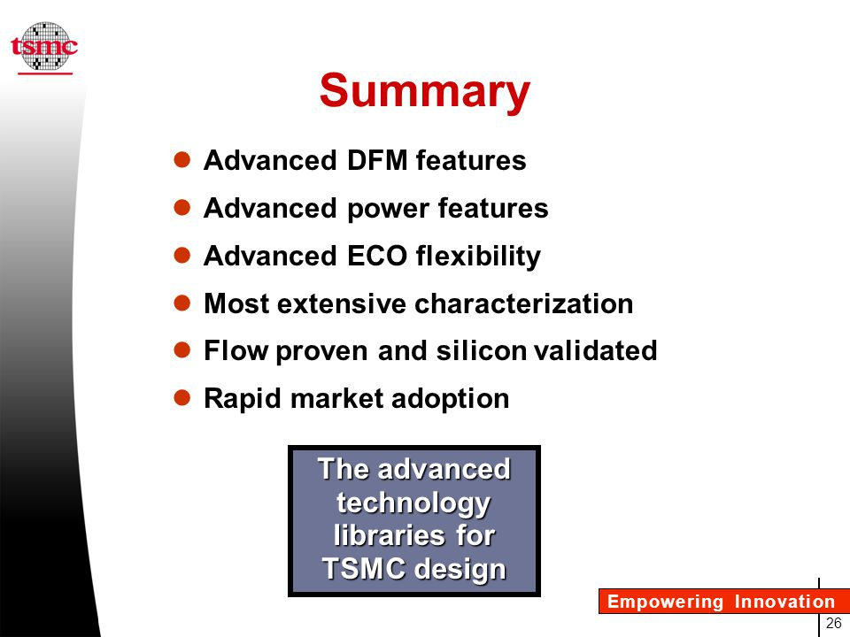 The advanced technology libraries for TSMC design