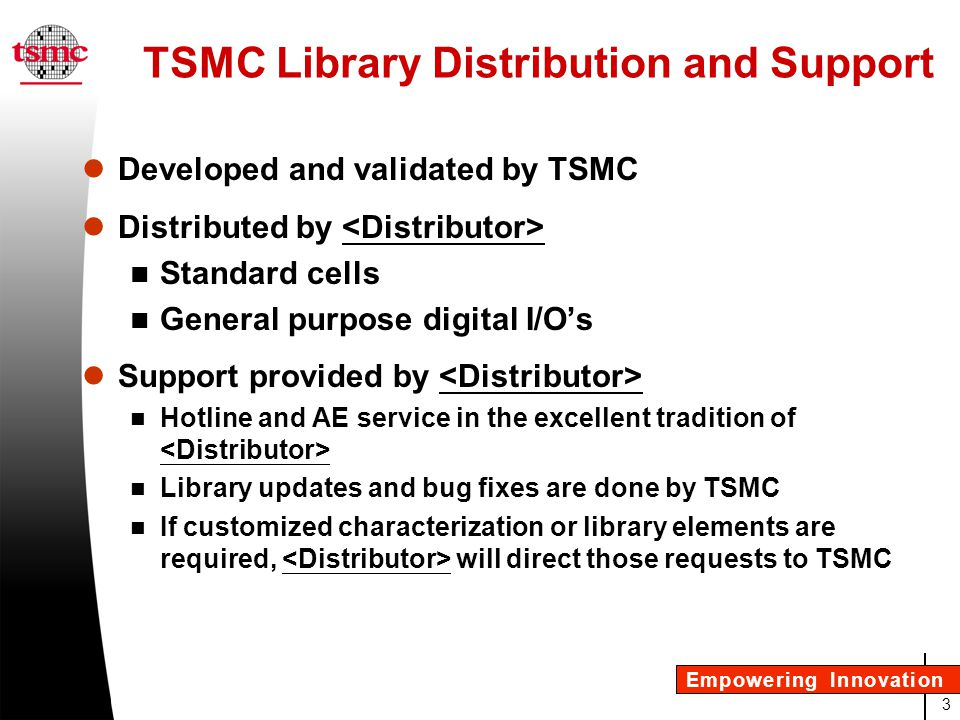 TSMC Library Distribution and Support