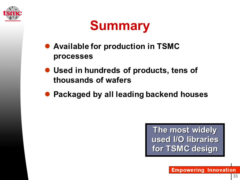 The most widely used I/O libraries for TSMC design