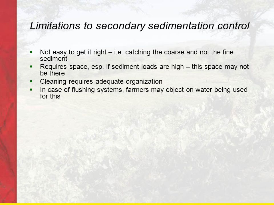 Limitations to secondary sedimentation control