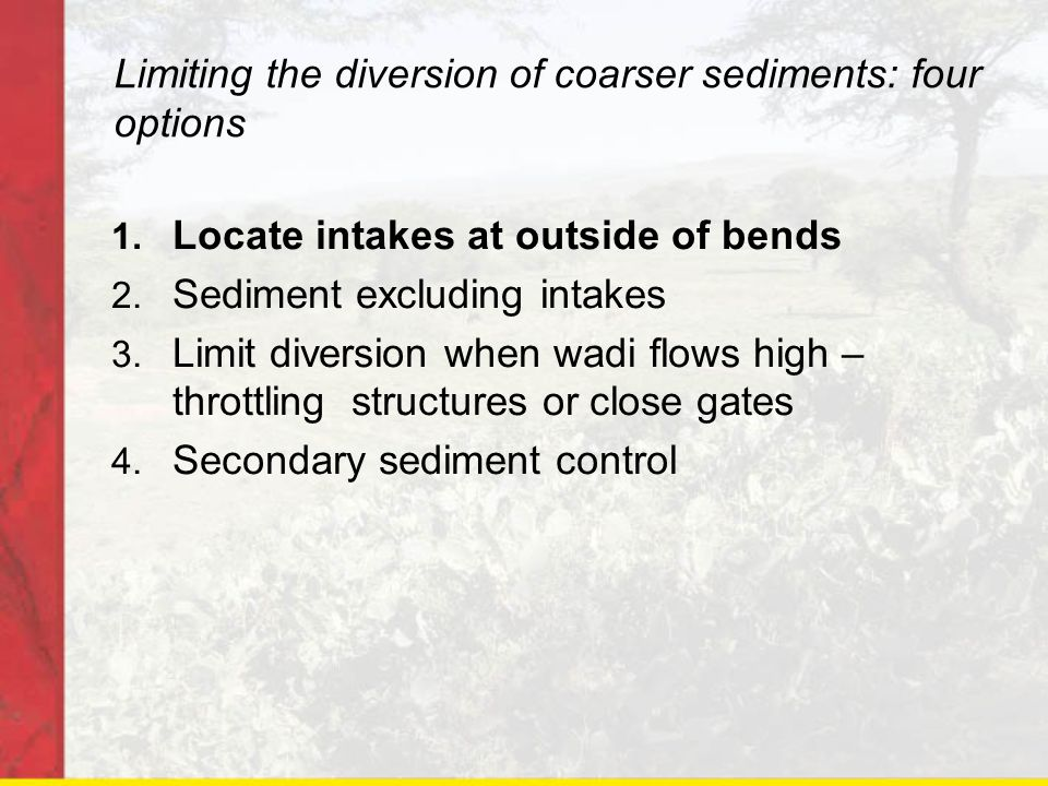 Limiting the diversion of coarser sediments: four options
