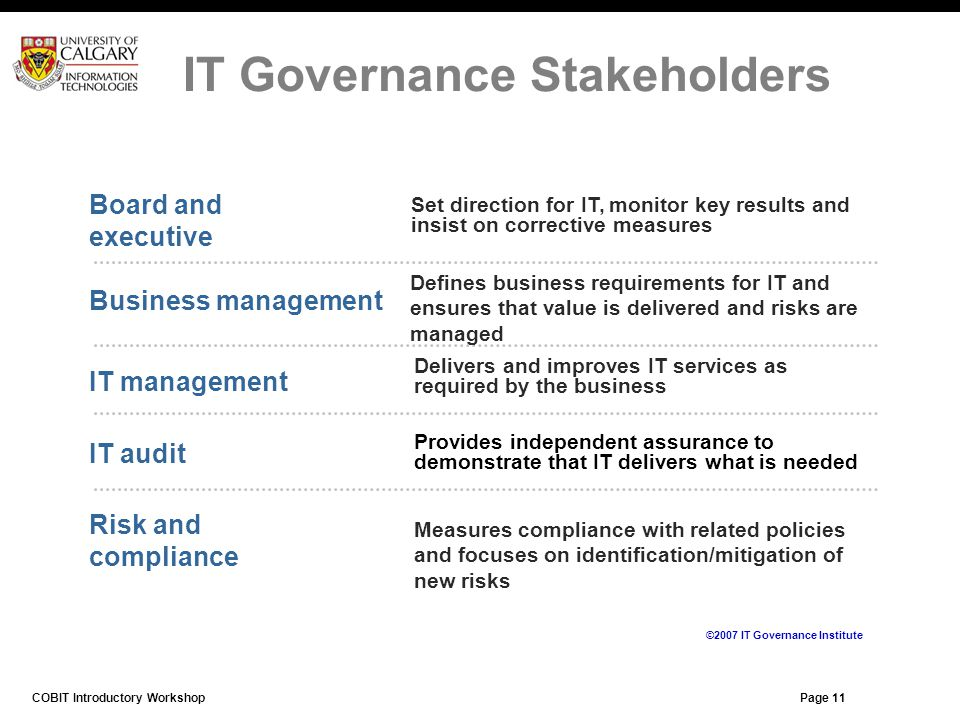 IT Governance Stakeholders