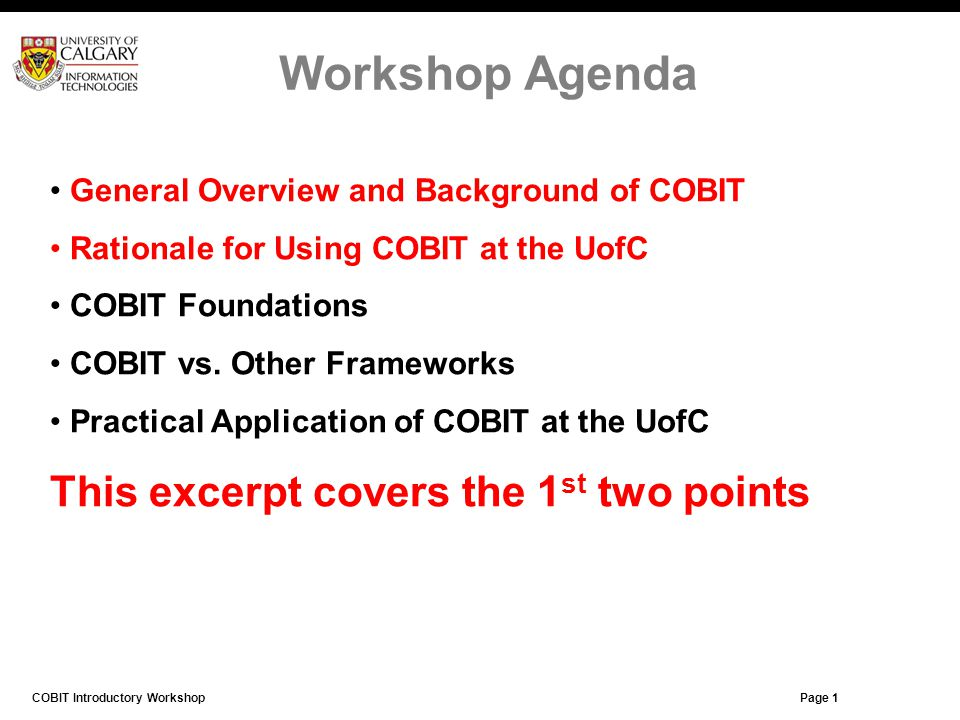 Workshop Agenda This excerpt covers the 1st two points