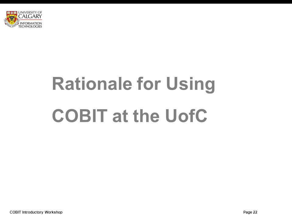 Rationale for Using COBIT at the UofC