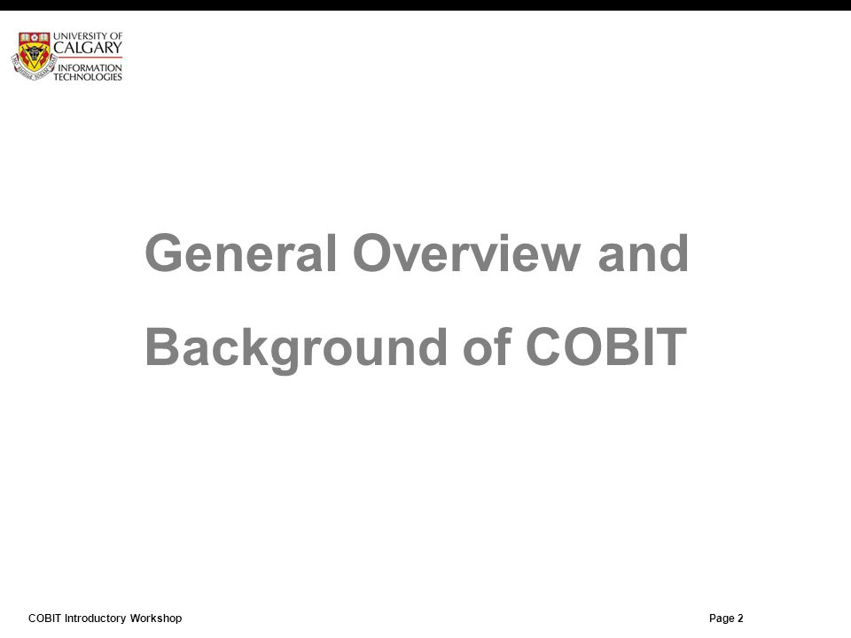General Overview and Background of COBIT