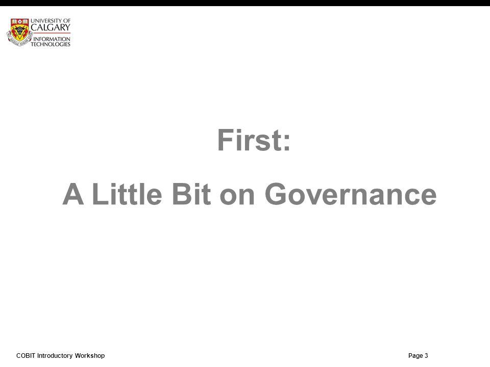 A Little Bit on Governance