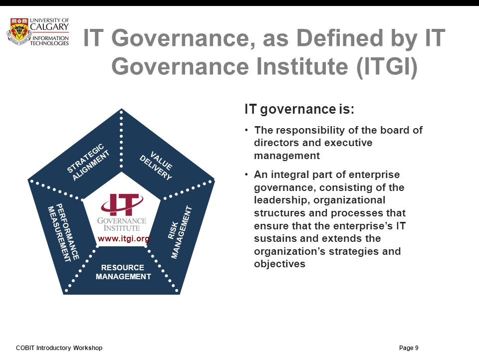 IT Governance, as Defined by IT Governance Institute (ITGI)