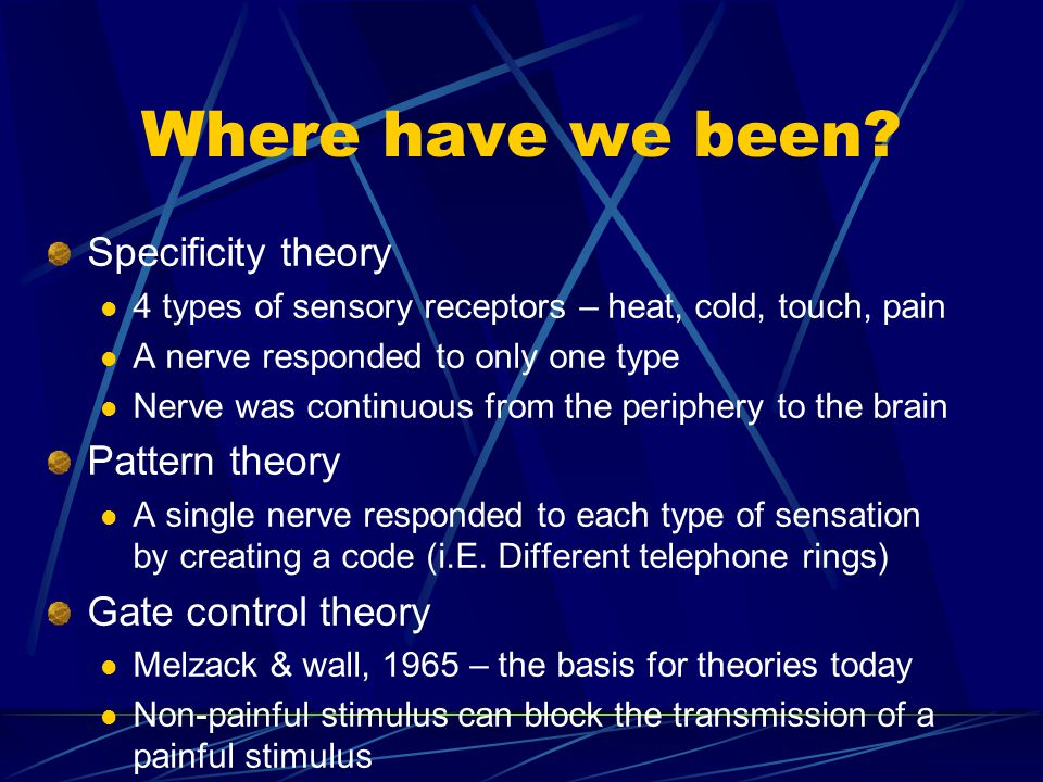 Where have we been Specificity theory Pattern theory