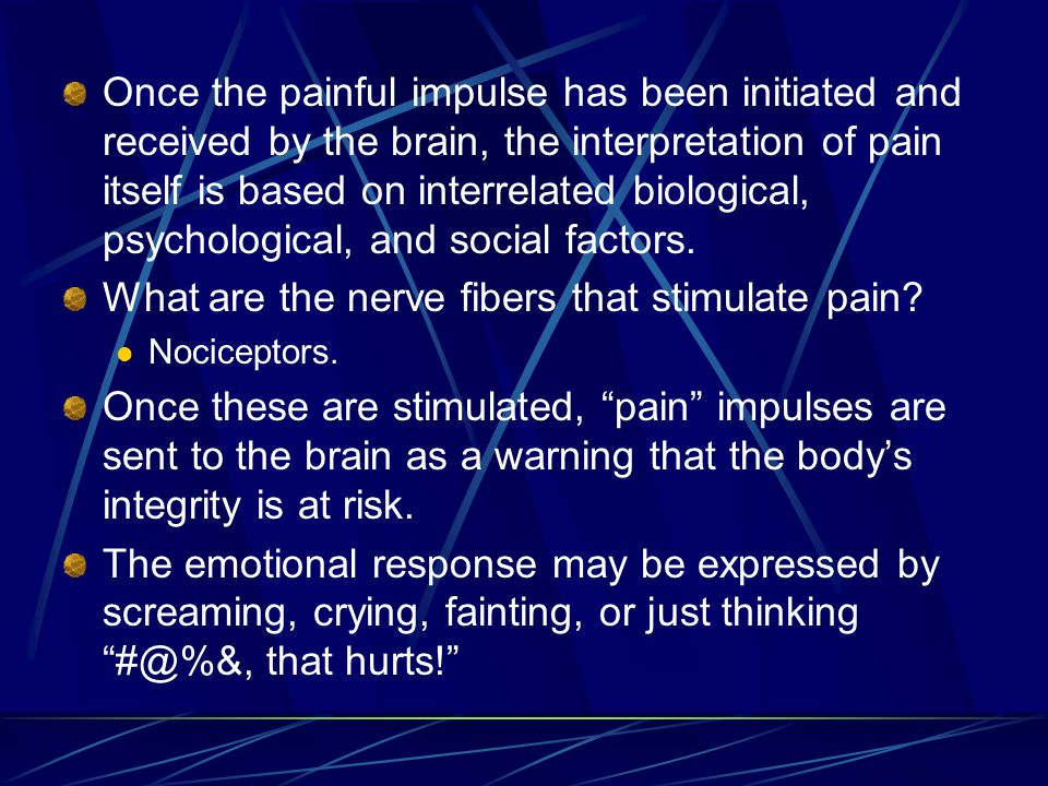 What are the nerve fibers that stimulate pain