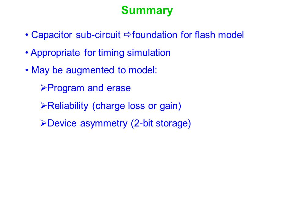 Summary Capacitor sub-circuit foundation for flash model