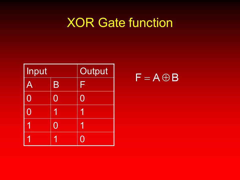 XOR Gate function Input Output A B F 1