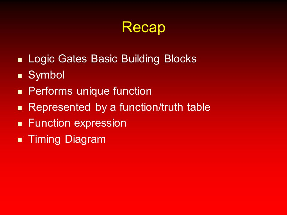 Recap Logic Gates Basic Building Blocks Symbol