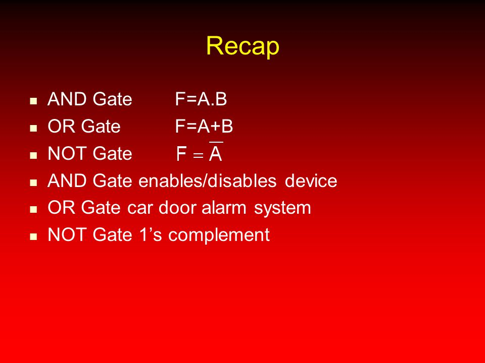 Recap AND Gate F=A.B OR Gate F=A+B NOT Gate