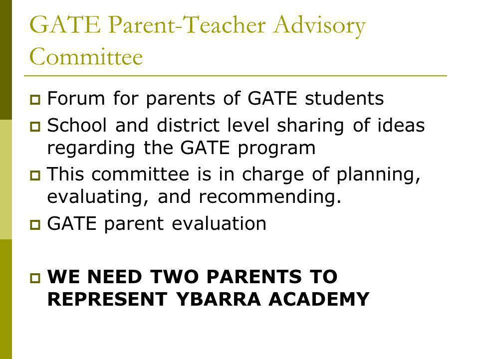 GATE Parent-Teacher Advisory Committee