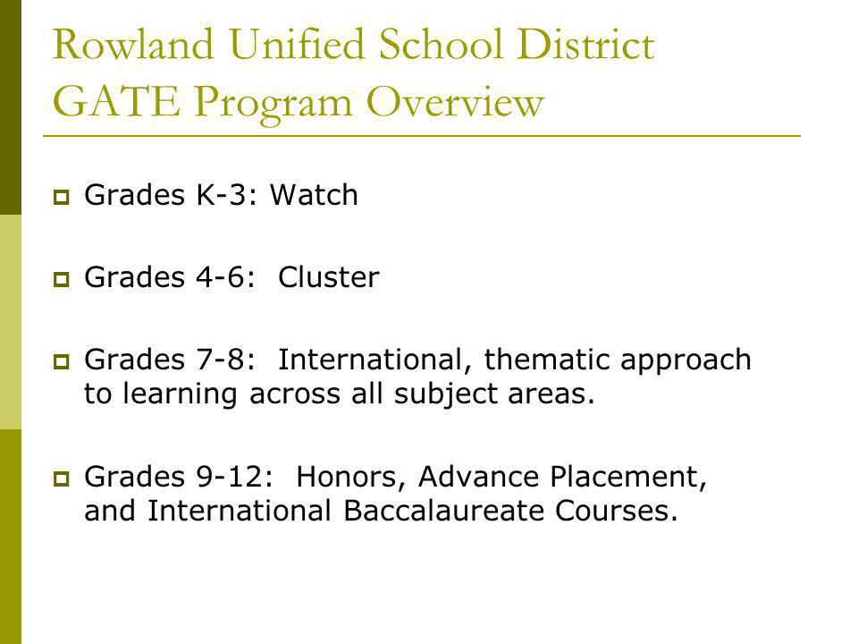 Rowland Unified School District GATE Program Overview