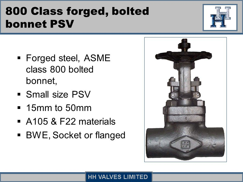 800 Class forged, bolted bonnet PSV
