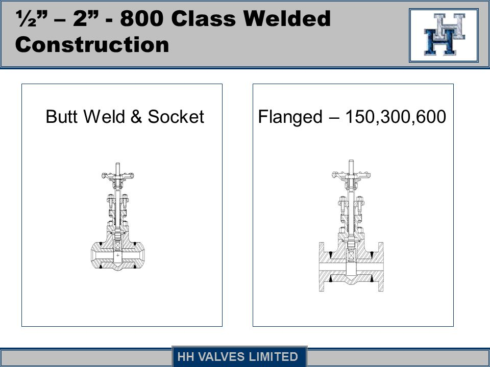 ½ – 2 - 800 Class Welded Construction