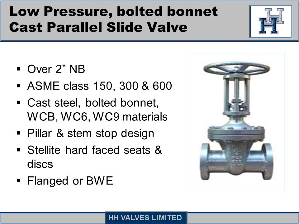 Low Pressure, bolted bonnet Cast Parallel Slide Valve