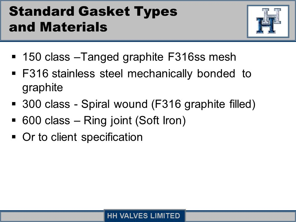 Standard Gasket Types and Materials