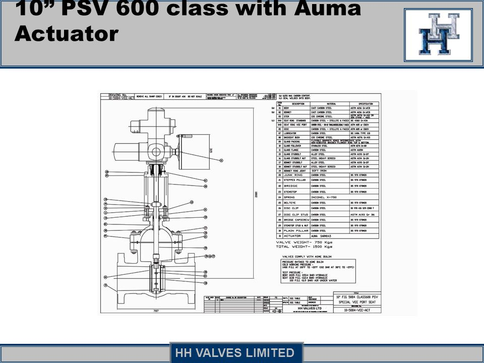10 PSV 600 class with Auma Actuator