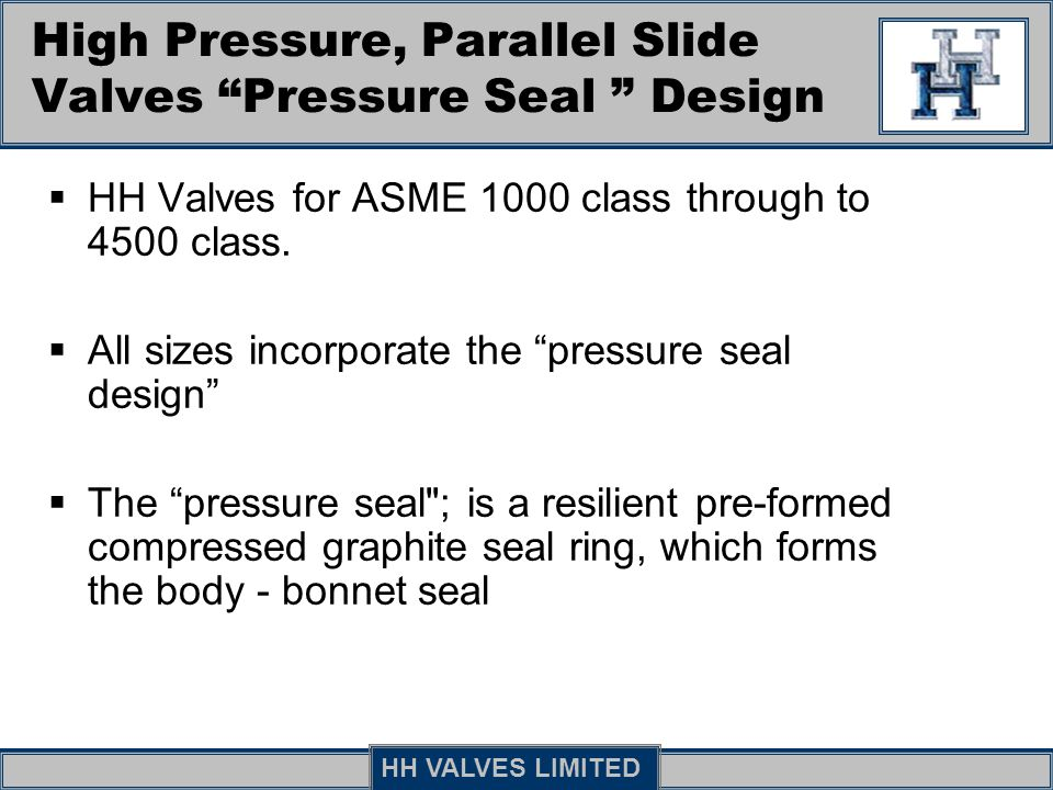 High Pressure, Parallel Slide Valves Pressure Seal Design