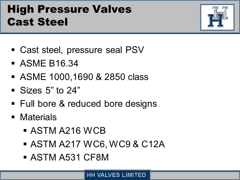 High Pressure Valves Cast Steel