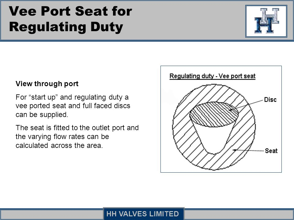Vee Port Seat for Regulating Duty