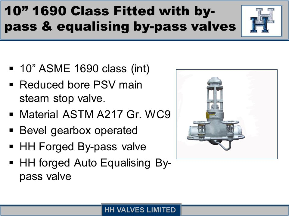 10 1690 Class Fitted with by-pass & equalising by-pass valves